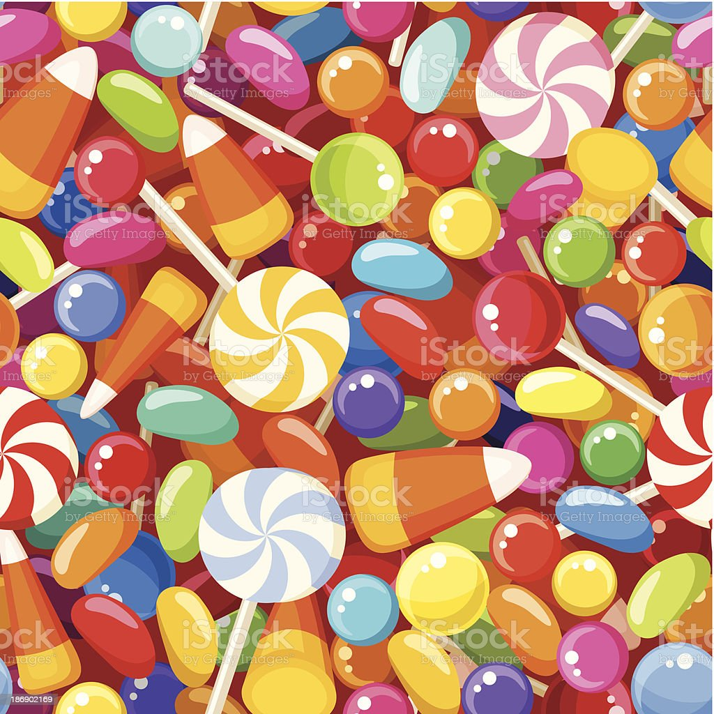 Seamless background with various candies. Vector illustration. vector art illustration