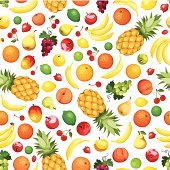 Vector seamless background with various fruits on white.
