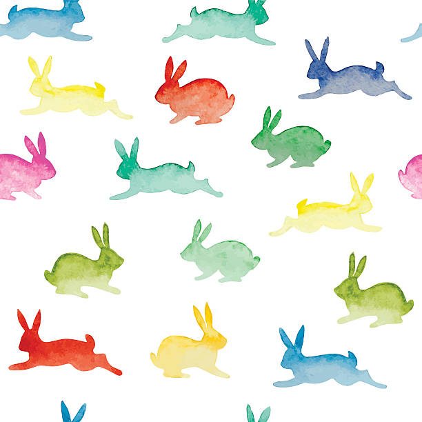 seamless background with watercolor colorful rabbits - rabbit animal stock illustrations