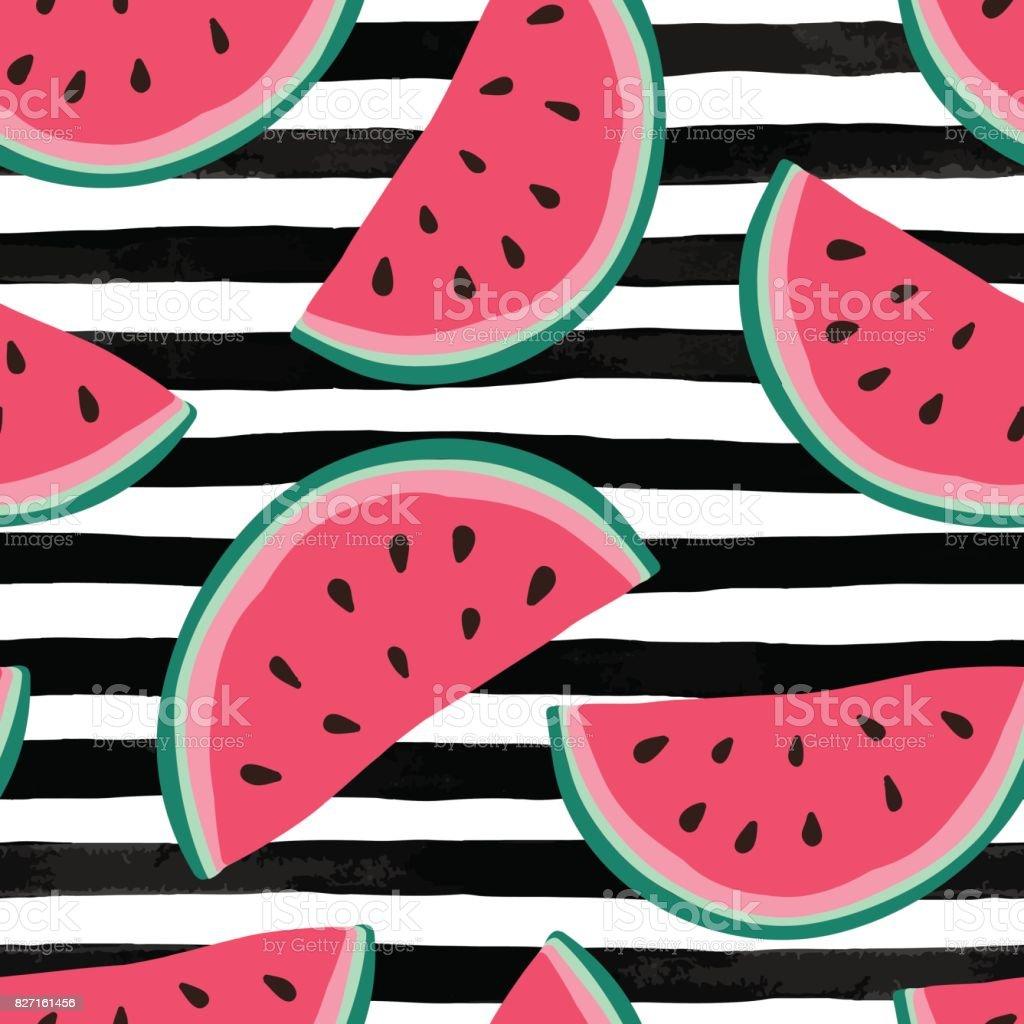 Seamless background with watermelon slices on black and white watercolor stripes. Vector illustration. - illustrazione arte vettoriale