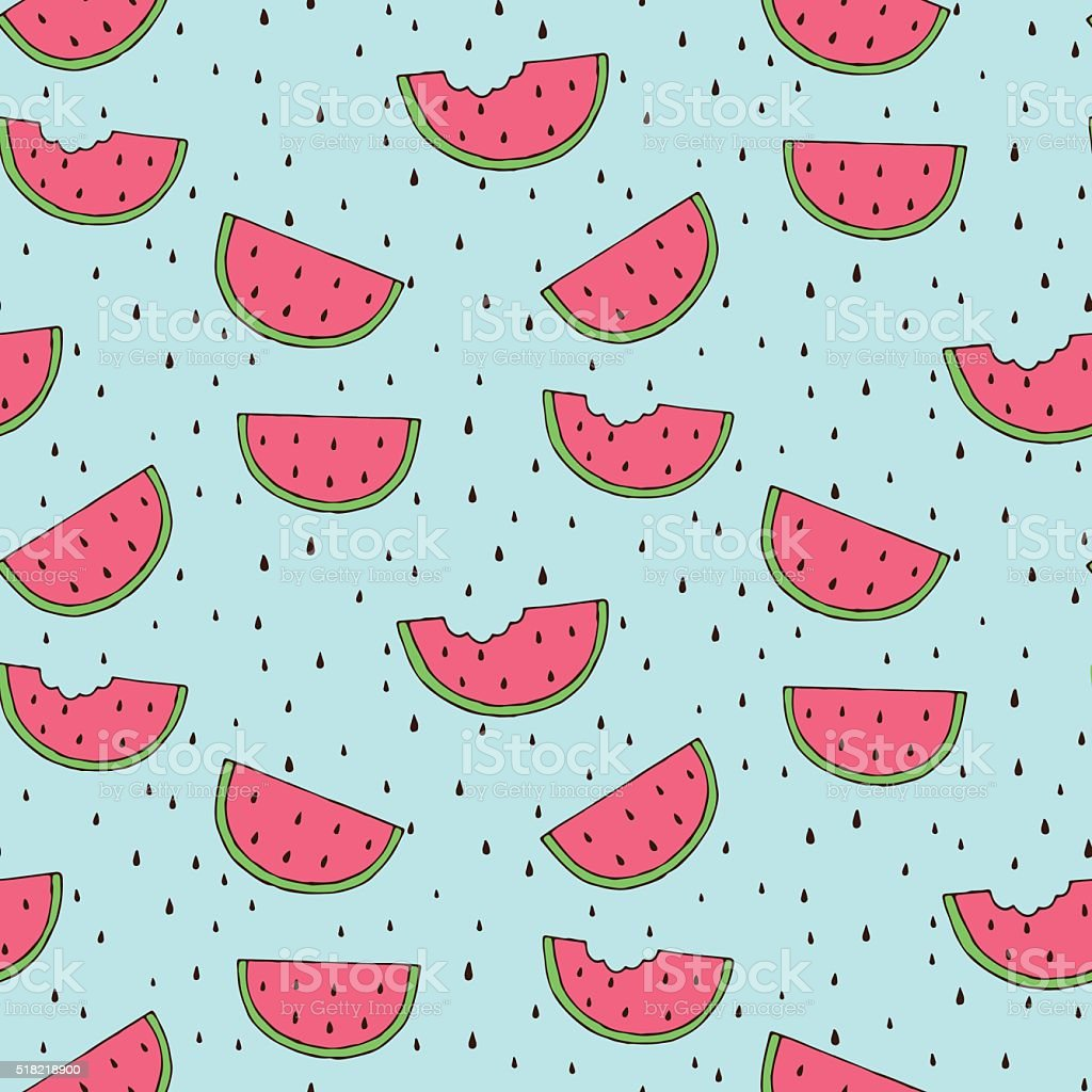 Seamless background with watermelon slices vector art illustration