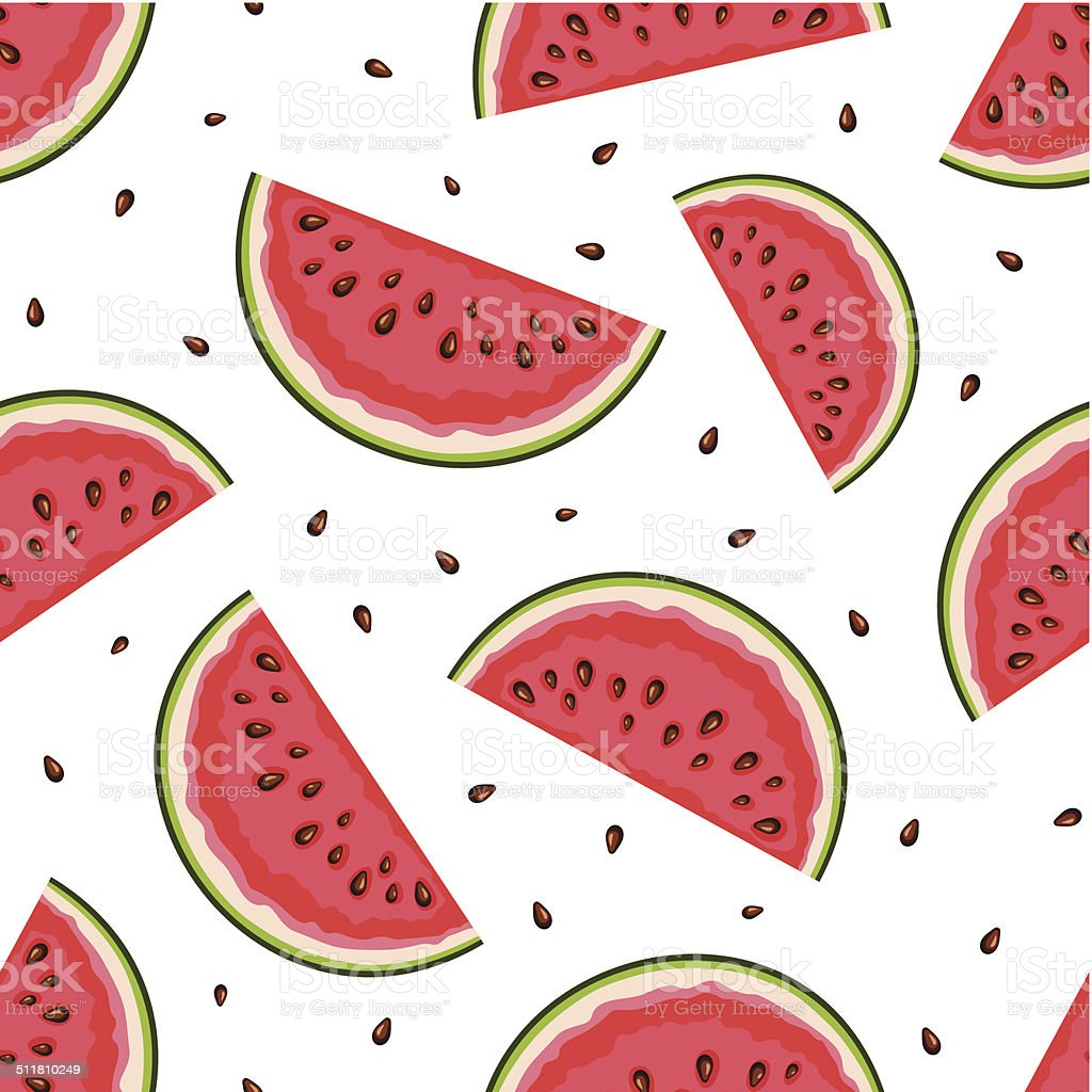 Seamless background with watermelon slices. Vector illustration. vector art illustration