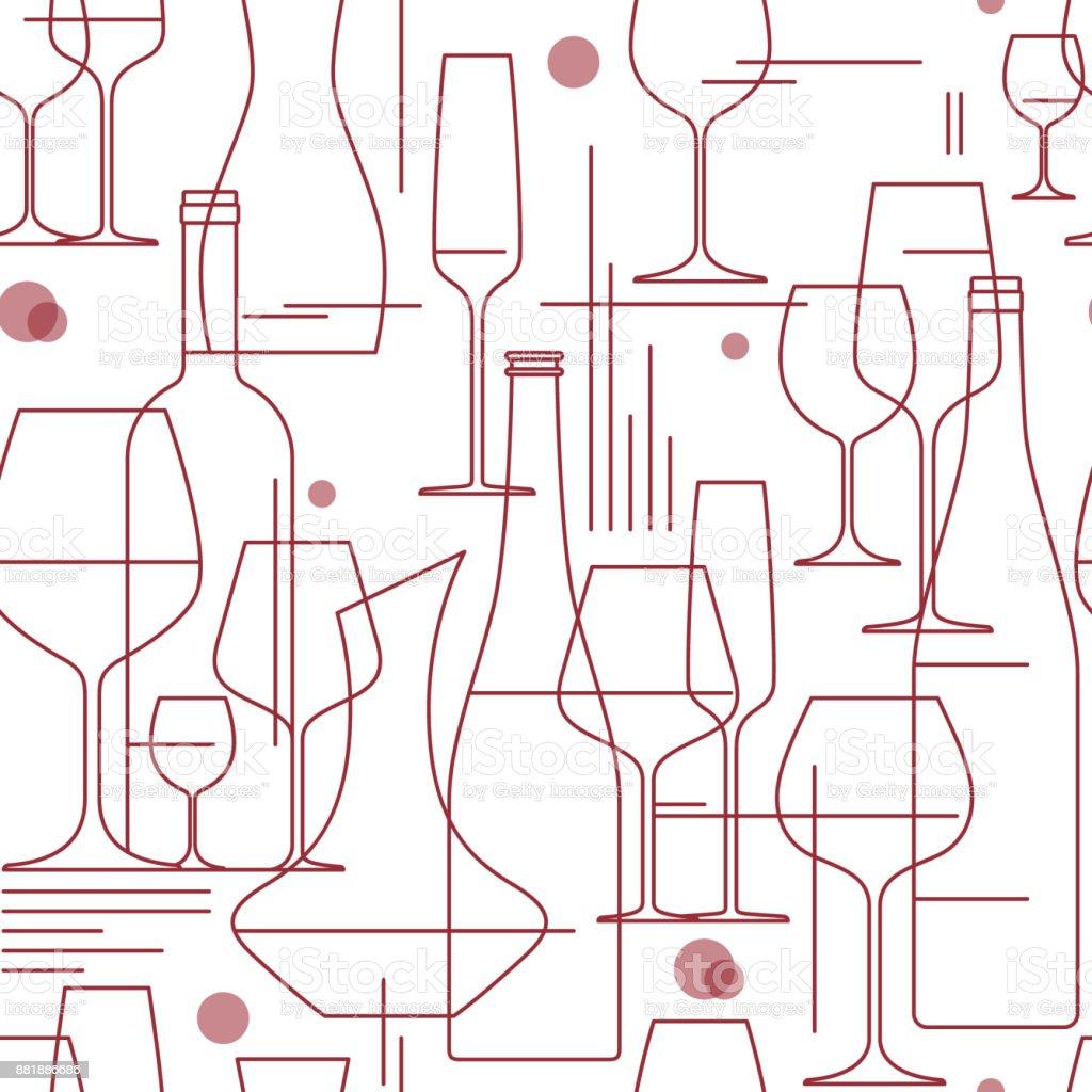 Fondo transparente con copas y botellas. Elemento para degustación, menú, carta de vinos, bodega, tienda de diseño. Estilo de línea. Ilustración de vector. - ilustración de arte vectorial