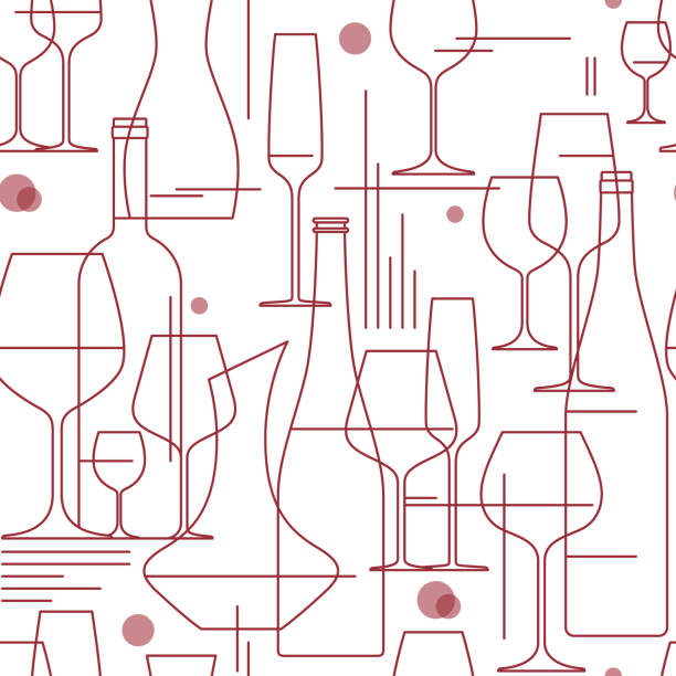 seamless background with wine glasses and bottles. design element for tasting, menu, wine list, winery, shop. line style. vector illustration. - alcohol drink silhouettes stock illustrations