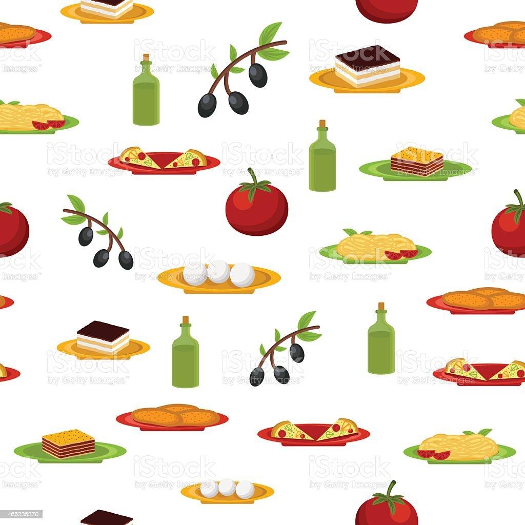 Nahtlose Hintergrund Witn Comicitalienische Küche Stock