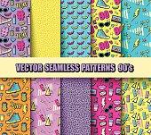 Vector Set Neon Pop Seamless Background 80s, 90s