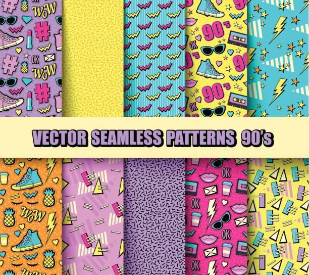 Seamless Backgrounds 80s, 90s vector art illustration