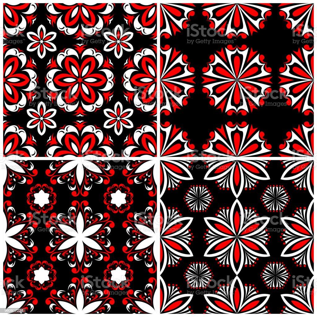 Nahtlose Hintergründe. Schwarz weiß und rot klassischen Sets mit floralen Mustern - Lizenzfrei Abstrakt Vektorgrafik