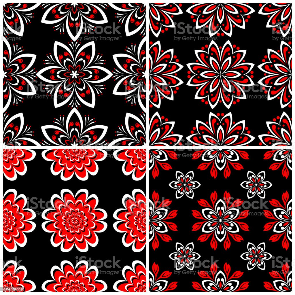 Seamless backgrounds. Black white and red classic sets with floral patterns royalty-free seamless backgrounds black white and red classic sets with floral patterns stock illustration - download image now