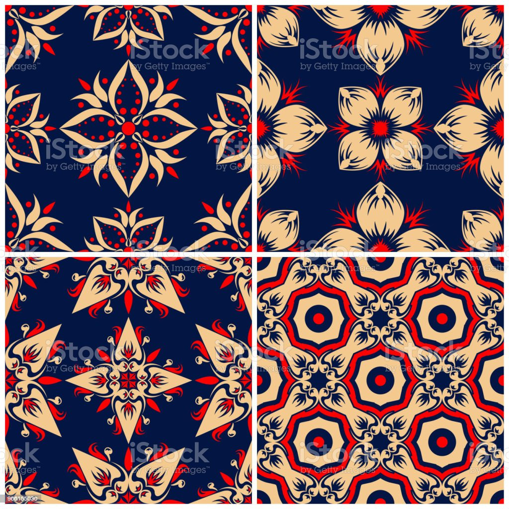 Seamless backgrounds. Blue beige and red classic sets with floral patterns - Royalty-free Abstract stock vector