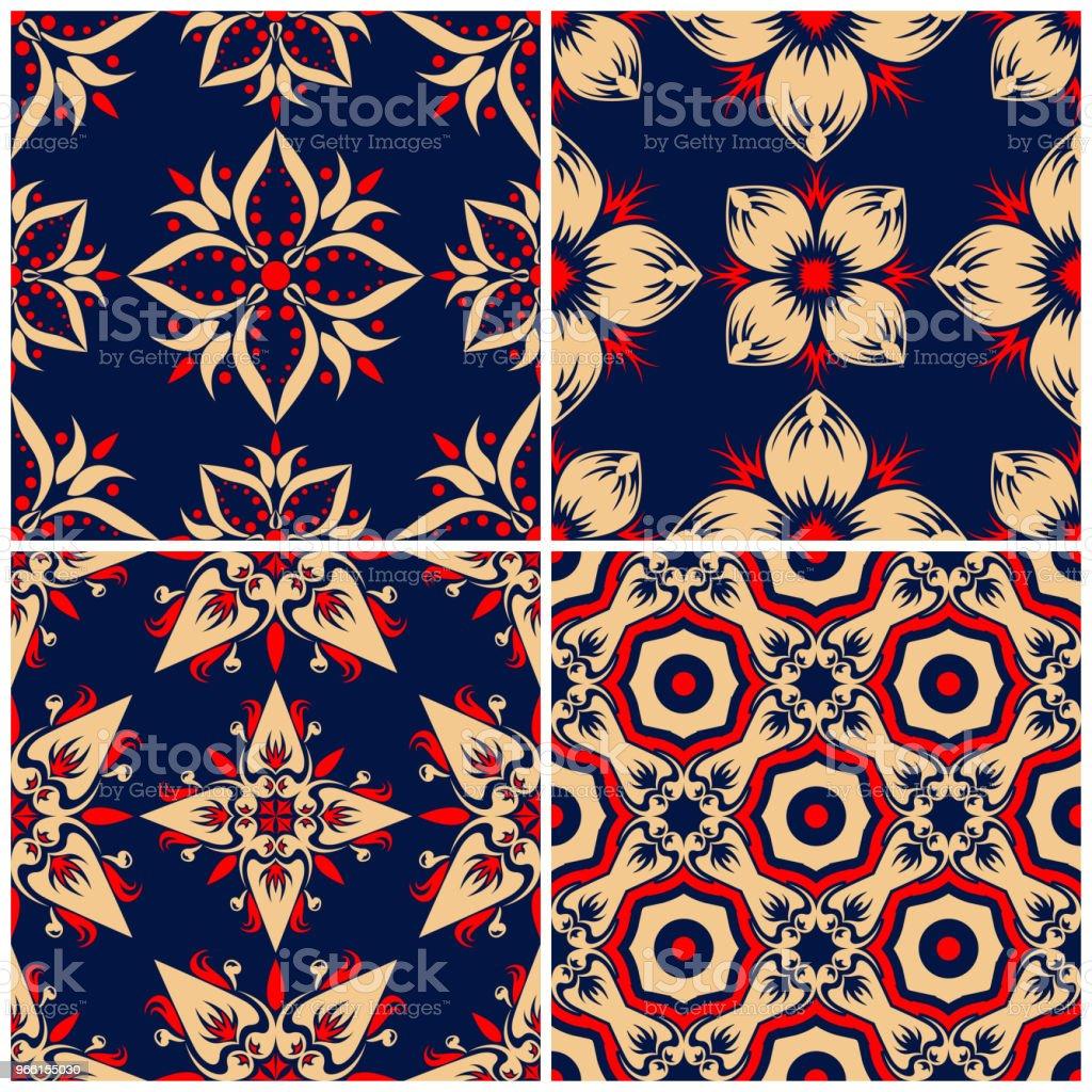 Sömlös bakgrund. Blå beige och röd klassiska uppsättningar med blommiga mönster - Royaltyfri Abstrakt vektorgrafik