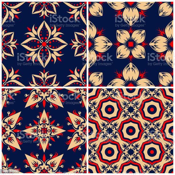 Sfondi Senza Soluzione Di Continuità Set Classici Beige E Rosso Blu Con Motivi Floreali - Immagini vettoriali stock e altre immagini di Arabesco - Motivo ornamentale
