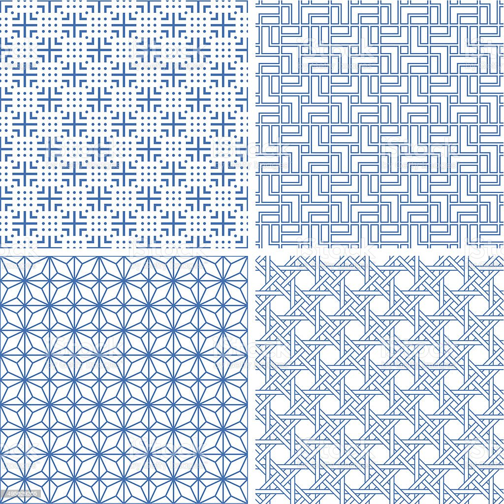 Seamless backgrounds of Chinese style向量藝術插圖