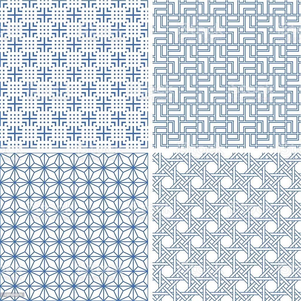 Chinesischen Stil nahtlose Hintergründe – Vektorgrafik