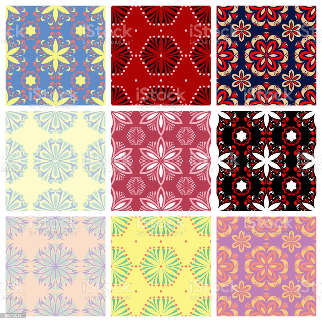 Seamless backgrounds with floral patterns. Colored set. royalty-free seamless backgrounds with floral patterns colored set stock vector art & more images of abstract