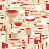 Seamless retro baking and cooking background.