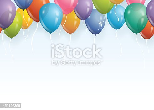 Vector illustration of a seamless balloon party border. Place image side by side for an endless pattern.