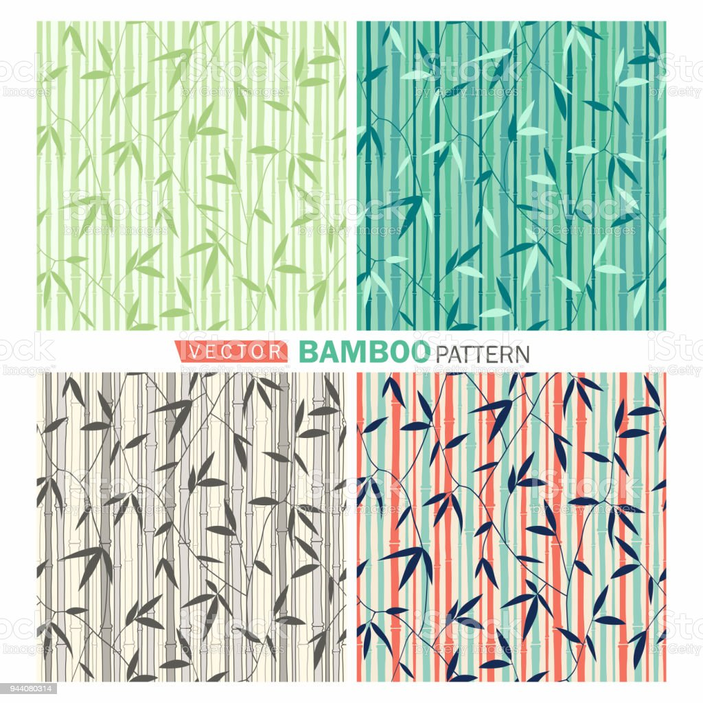 Seamless bamboo pattern vector art illustration