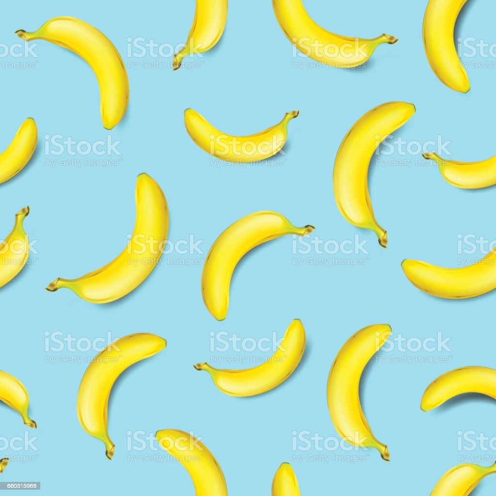 Seamless banana pattern on light blue background vector art illustration