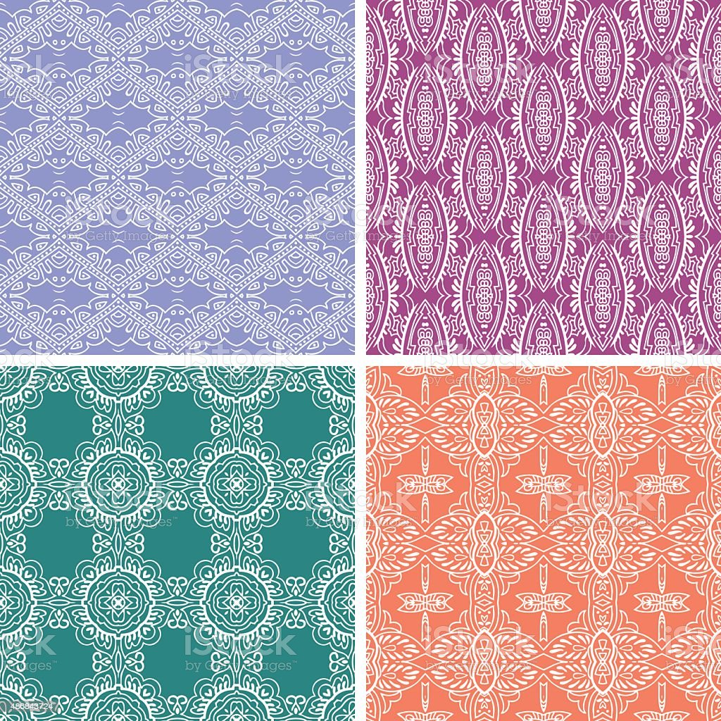 Seamless bandana patterns vector art illustration