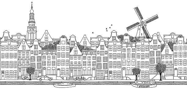 シームレスなバナーのアムステルダムの街並み - 都市 モノクロ点のイラスト素材/クリップアート素材/マンガ素材/アイコン素材