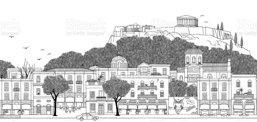 Seamless banner of Athens, Greece vector art illustration