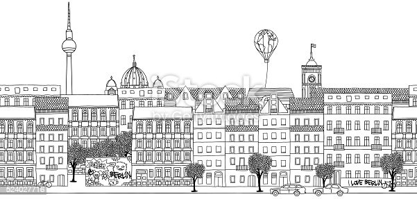 Hand drawn black and white panorama illustration of Berlin's skyline