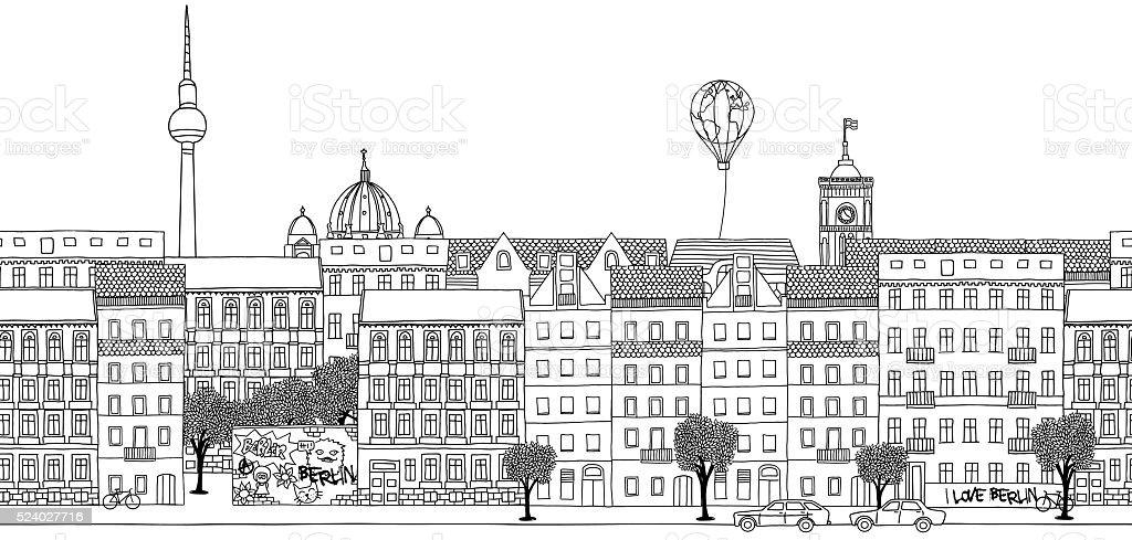 Seamless banner of Berlin's skyline vector art illustration