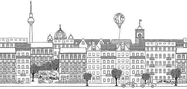 ilustrações de stock, clip art, desenhos animados e ícones de faixa sem costura do horizonte de berlim - berlin wall