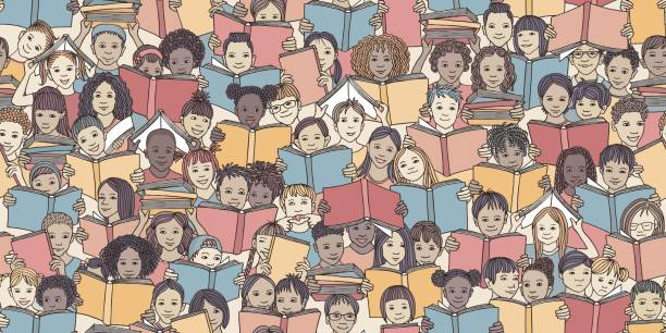 Seamless banner of children reading colorful books Children reading colorful books,