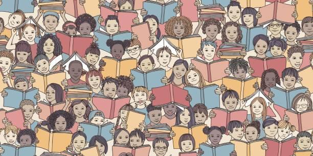 seamless banner of children reading colorful books - reading stock illustrations