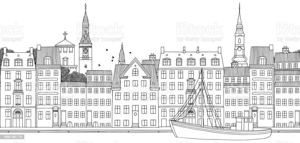 Seamless banner of Copenhagen vector art illustration