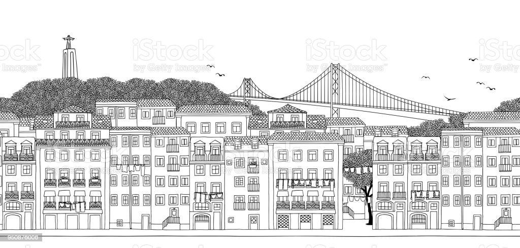 Seamless banner of Lisbon, Portugal vector art illustration