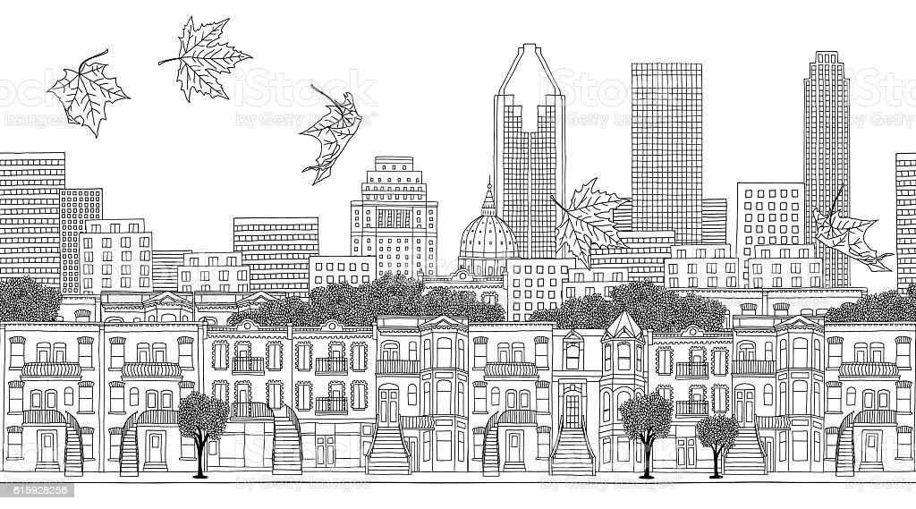 Seamless banner of Montreal's skyline vector art illustration
