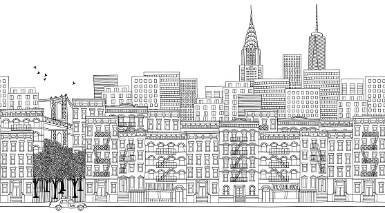 Ink illustration of New York, black and white for adult coloring books