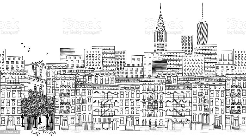 Seamless banner of New York city, hand drawn vector art illustration
