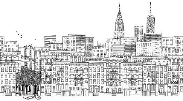 シームレスなバナーのニューヨーク市、手描き - 都市 モノクロ点のイラスト素材/クリップアート素材/マンガ素材/アイコン素材