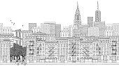 Seamless banner of New York city, hand drawn