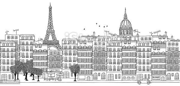 Hand drawn black and white panorama illustration of Paris skyline
