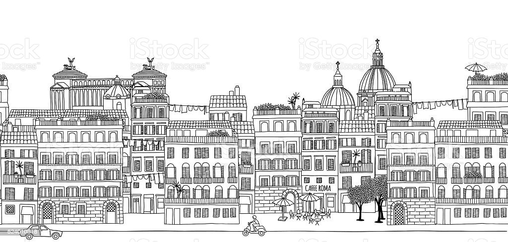 Seamless banner of Rome's skyline vector art illustration