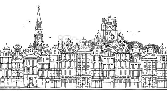 Brussels, Belgium - Seamless banner of the city's skyline, hand drawn black and white illustration