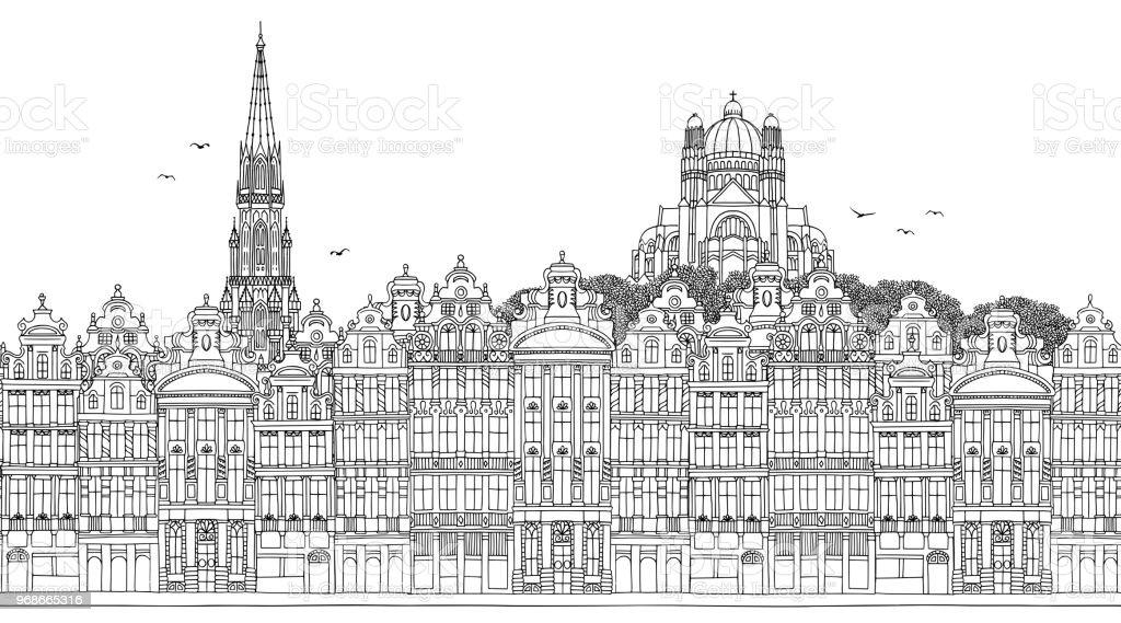 Bandera del horizonte de Bruselas - ilustración de arte vectorial