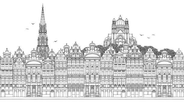 Seamless banner of the Brussel's skyline vector art illustration