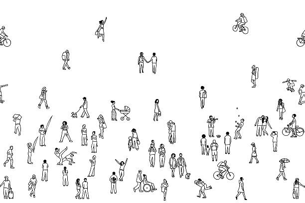 seamless banner of tiny people, can be tiled horizontally - 細小 幅插畫檔、美工圖案、卡通及圖標