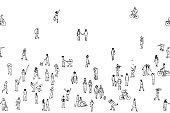 Seamless banner of tiny people, can be tiled horizontally