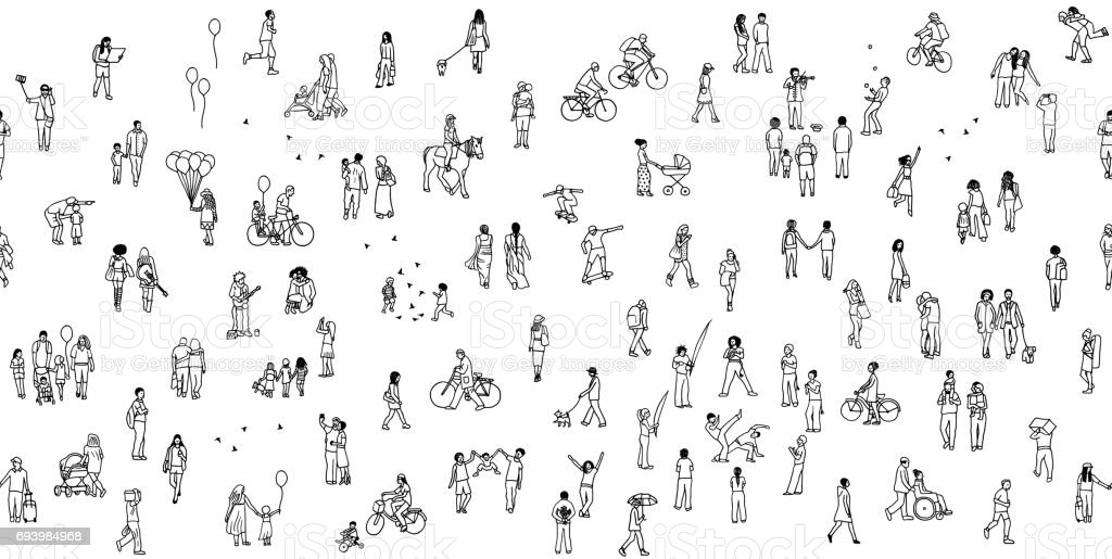 Seamless banner of tiny people vector art illustration