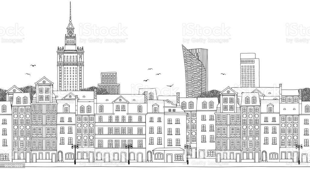 Seamless banner of Warsaw, Poland vector art illustration