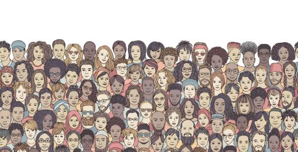 Seamless banner with a diverse crowd of people Hand drawn faces of various ethnicities crowd of people stock illustrations
