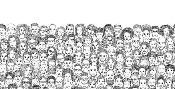 Seamless banner with a diverse crowd of people Hand drawn faces of various ethnicities community drawings stock illustrations