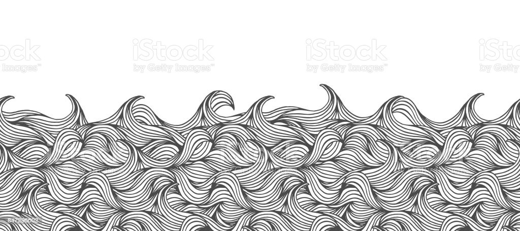 Seamless banner with hand drawn waves royalty-free seamless banner with hand drawn waves stock vector art & more images of abstract